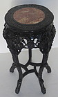 Antique Chinese Carved wood side table with  Marble top