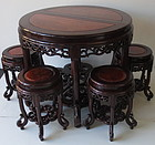 Antique Chinese Hardwood Round Table with 6 chairs