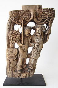 Chinese Carved Wooden Temple Architectural Panel