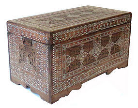 Antique Burmese Inlaid wood Trunk