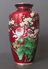 Red Ginbari Cloisonne Vase with Flowers
