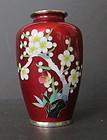 Vintage Japanese Red Ginbari Cloisonne Vase