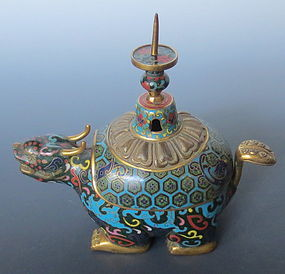 Antique Chinese Cloisonne Gilt Bronze Mythical Creature