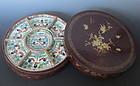 Chinese polychrome porcelain set with box