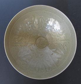Korean Koryo Period Celadon Bowl with Floral Motif