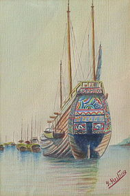 Vintage Chinese Watercolor by Yastriez