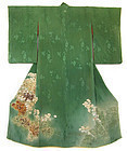 Japanese Unusual Green Silk Kimono with Flowers