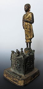 Thai Antique Bronze Figure of Ksitigarbha and Demons