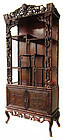 Chinese Hardwood Display Cabinet Carved with Bamboo