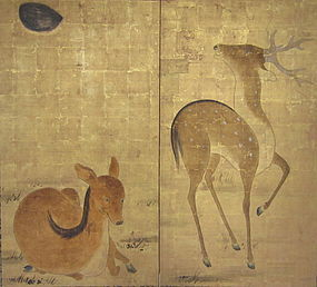 Rinpa Style Two Panel Screen of Two Deer on Gold Leaf