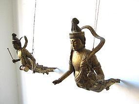 Pair of Hanging Apsaras or Kuyo Bosatsu