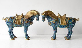 Pair of Chinese Cloisonne Horses
