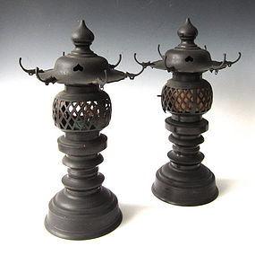 Antique Pair of Japanese Temple Lanterns