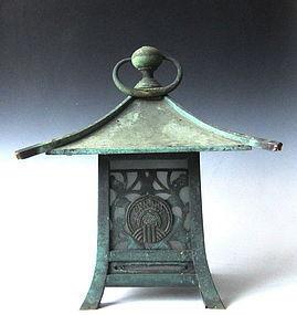 Japanese Shrine Lantern with Inari Crest