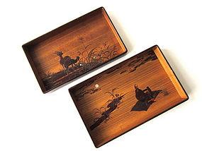 Meiji Period Cherry Bark Pair of Hirobuta Trays
