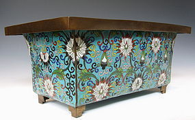 Chinese Bronze Cloisonne Flower Container