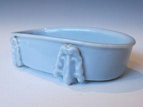 Chinese Monochrome Porcelain Oval Shaped Brushwasher