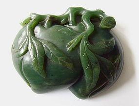 Chinese Jade Double Peach Belt Hook