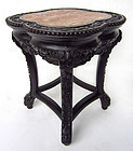 Chinese Clover Leaf Hardwood Stool with Marble Insert