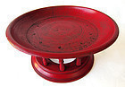 Burmese Red Laquer Wood Offering Tray Kalat