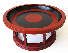 Burmese Red and Black Lacquer Wood Offering Tray Kalat
