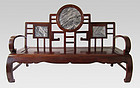 Chinese Hardwood and Marble Settee
