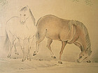 Two Panel Folding Screen of Horses