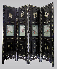 Chinese Coromandel Screen with Porcelain Panels