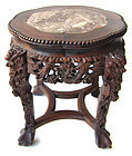 Chinese Antique Carved Hardwood Low Marble Top Table