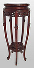 Antique Chinese Hardwood Inlaid Plant  Stand