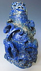 Chinese Antique Carved Lapis Lidded Bottle with Chimera