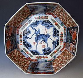 Japanese Edo Period Imari Large Octagonal Bowl