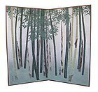 Japanese Pair of Screen Paintings of Bamboo Grove