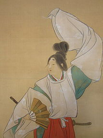Japanese Scroll Portraying Shirabyoshi Dancer