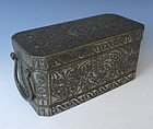 Antique Southeast Asian Inlaid Bronze Box