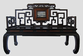 Chinese Antique Hardwood Bench with Marble