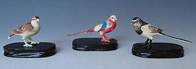Set of Three Carvings of Various Birds