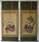 Antique Ukiyoe Image of Beauties Pair Scroll