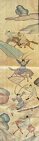 Antique Chinese Kesi Battle Scene Fabric Panel