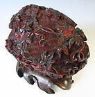 Chinese Antique Carved Lacquer Melon Shaped Container