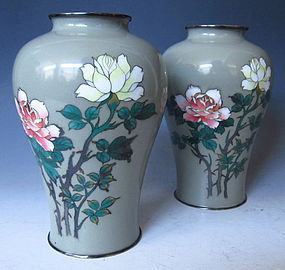 Pair of Japanese Cloisonne Vases with Floral Motif