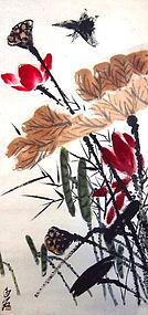 Chinese Hanging Scroll of Lotuses Qi Baishi