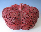 Chinese Carved Cinnabar Lacquer Squash Shaped Box