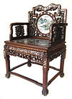 Chinese Antique Pair of Hardwood Chairs with Porcelain