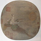 Chinese Print of Woman Riding a Phoenix