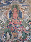 Tibetan Thangka of Amitayus Namgyalma and Tara