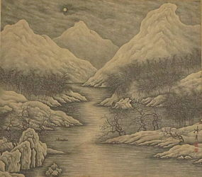 Chinese Ink Evening Landscape Painting