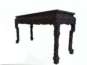 Chinese Hardwood Table with Motif of Lingzhi