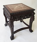 Chinese Antique Hardwood Carved Stand with Marble Top