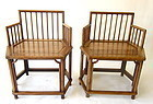 Chinese Pair of Six Sided Huanghuali Chairs